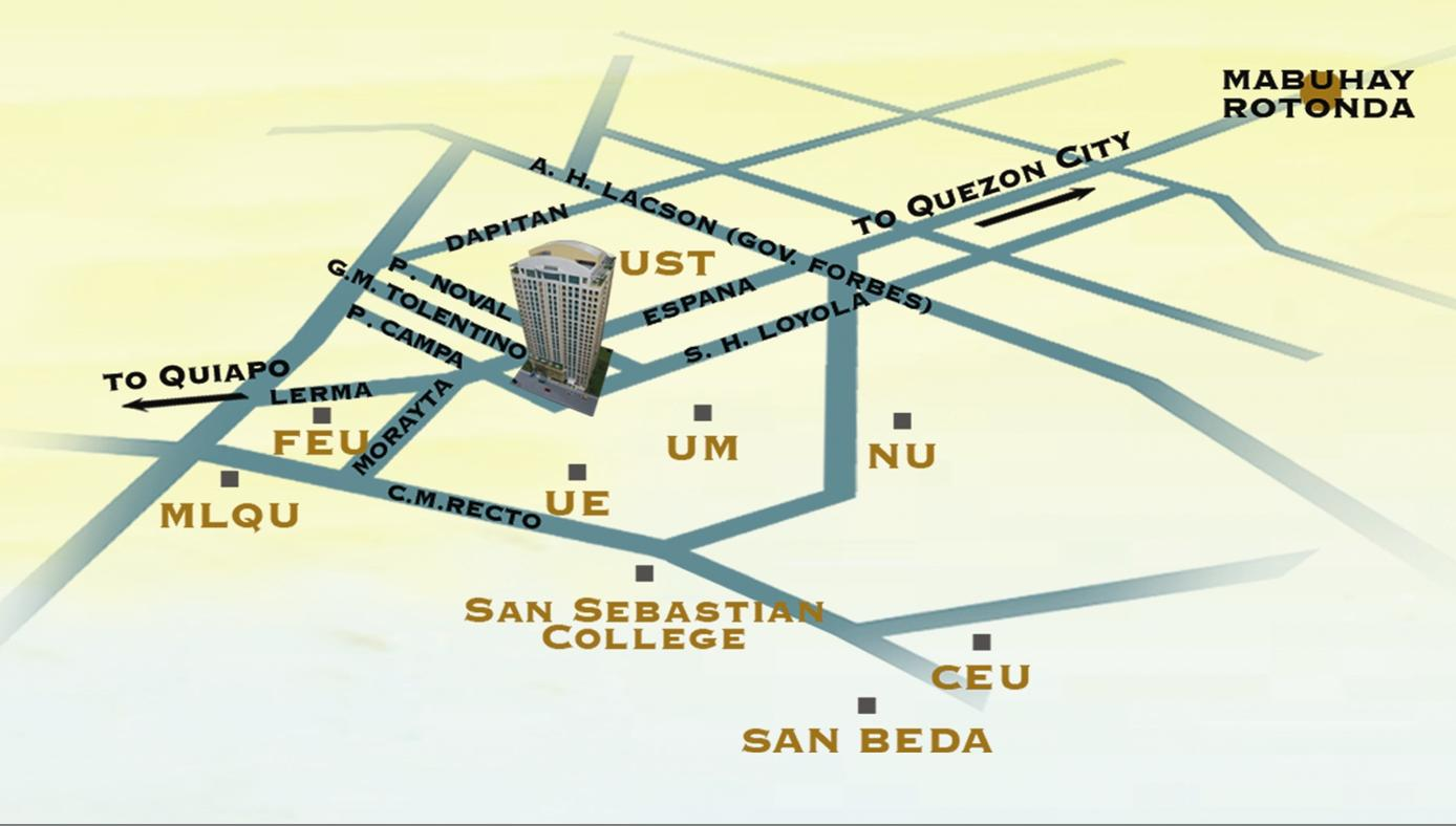 Manila Condo CROWN TOWER University Belt Property Preview - Location map ust
