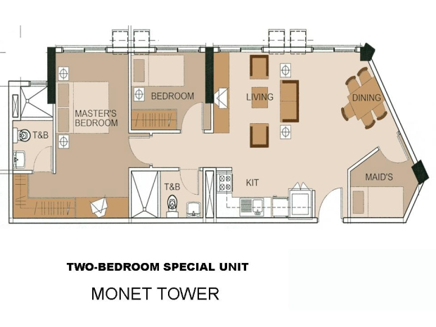 Monet 74sqm floor plan